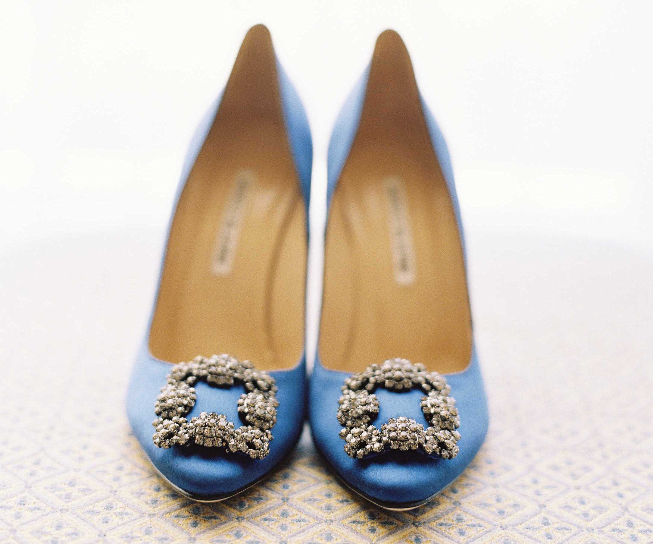Blue wedding shoes with crystal buckles