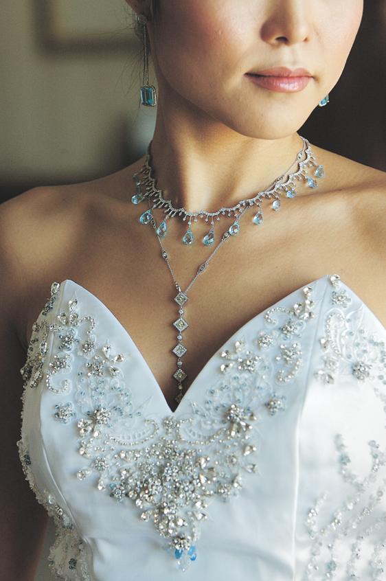 Light blue wedding jewelry