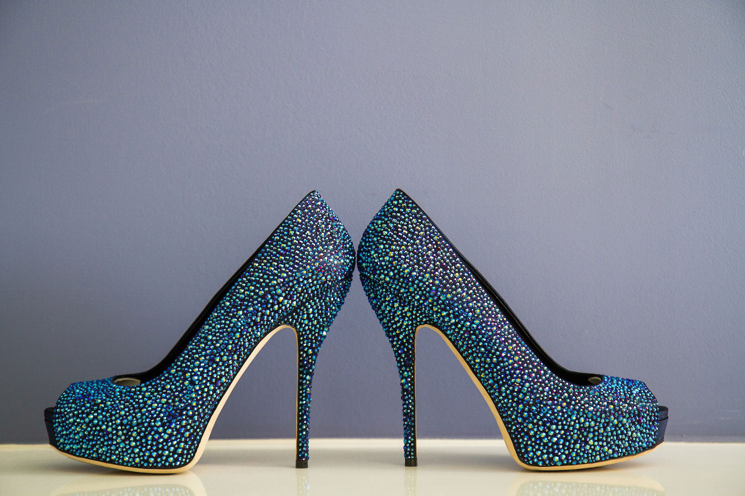 Blue crystal wedding shoes