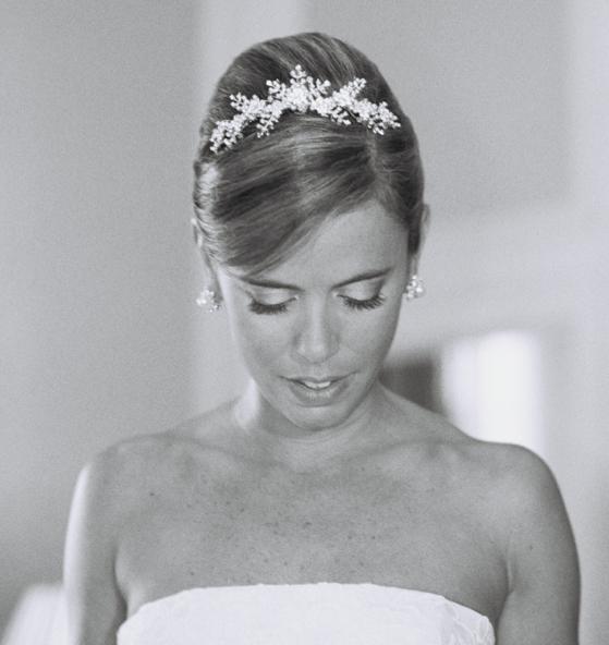 Black and white photo of bride wearing tiara