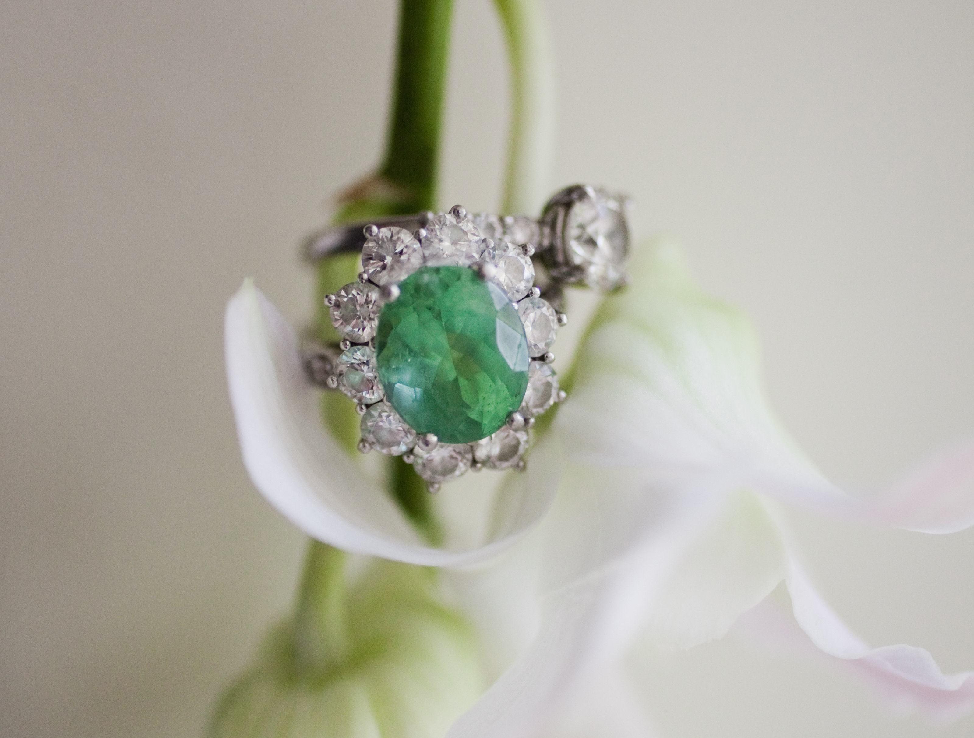 Light green gemstone ring