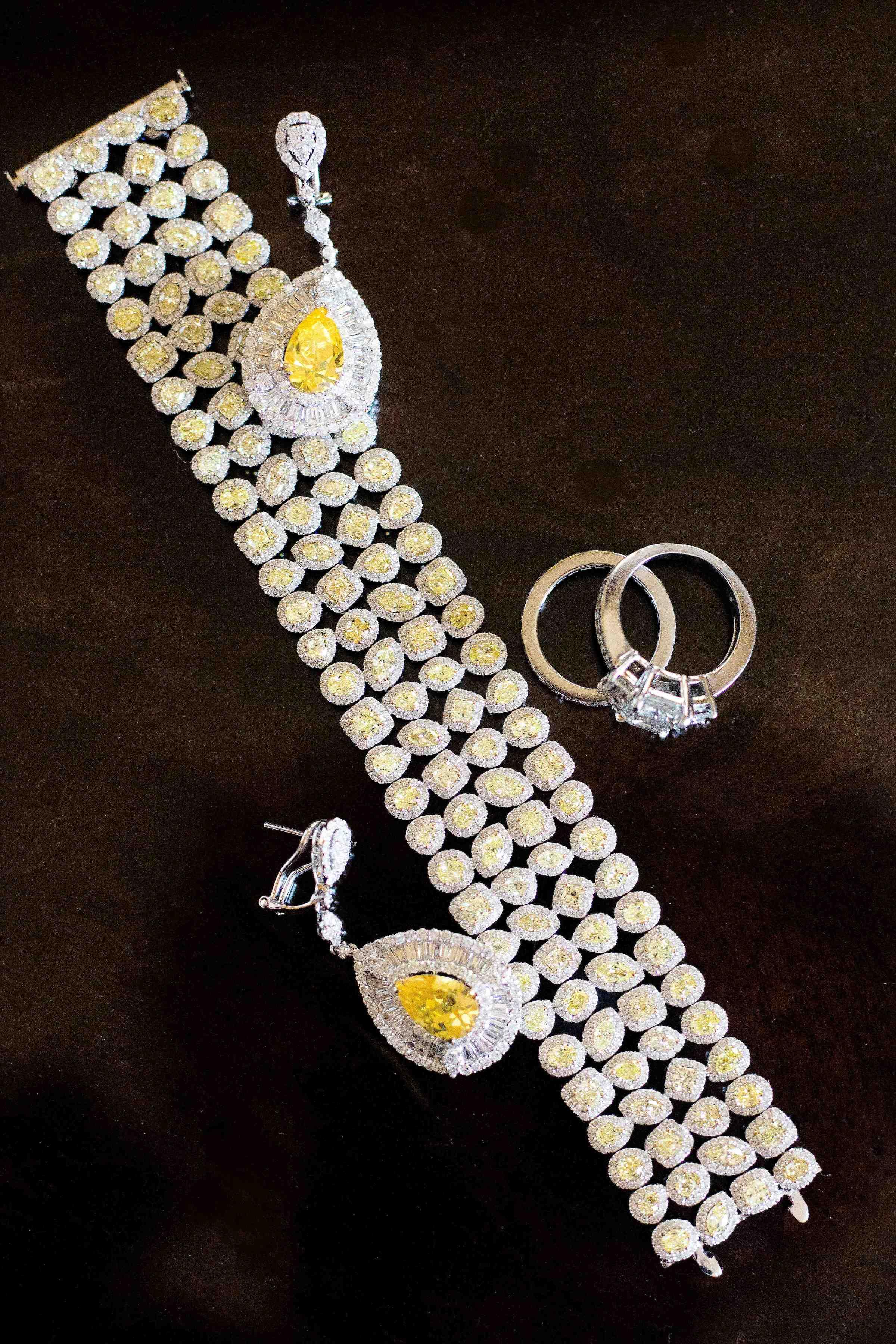 Yellow diamond bracelet and earrings