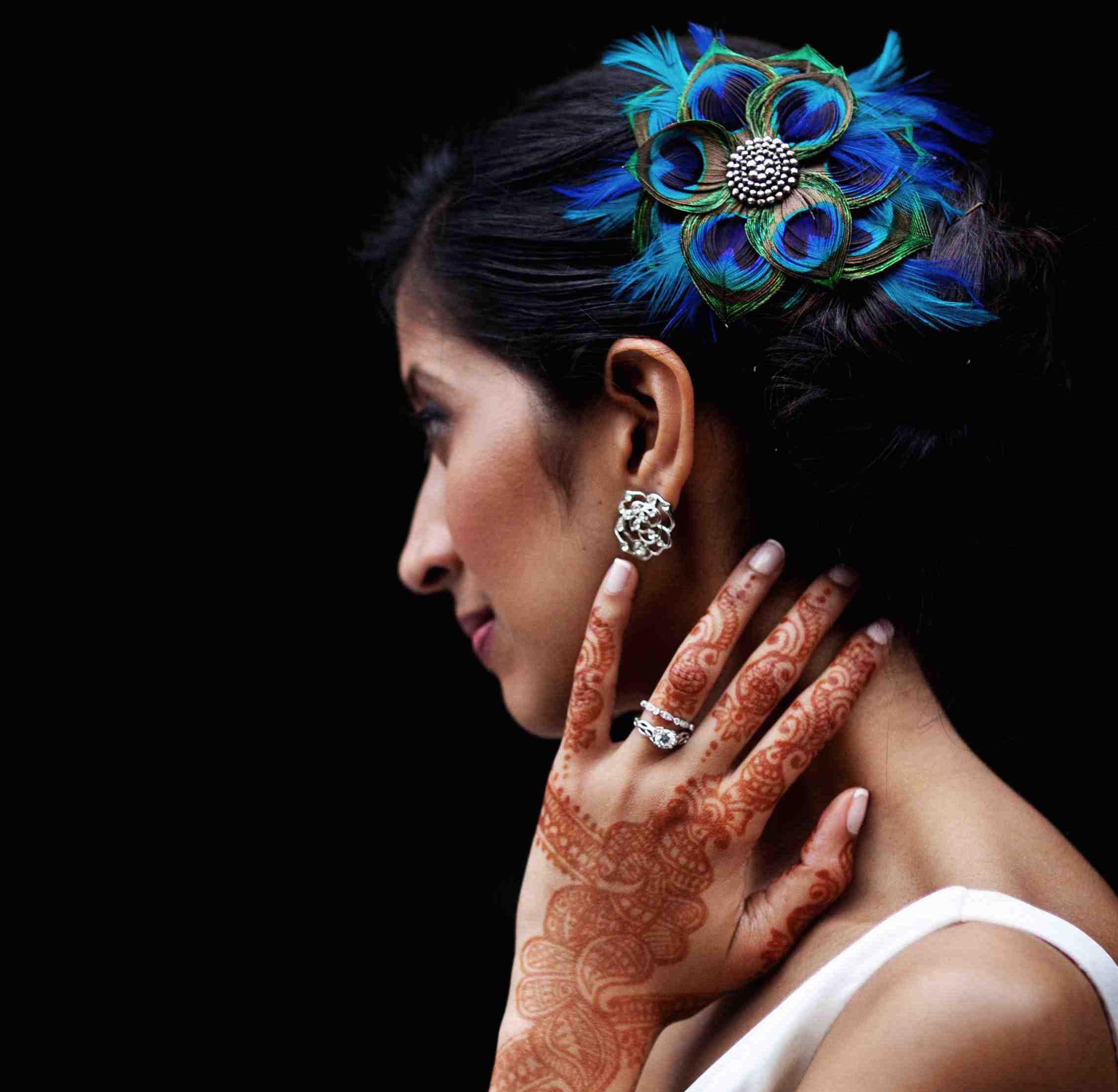 Blue feather bridal wedding headpiece