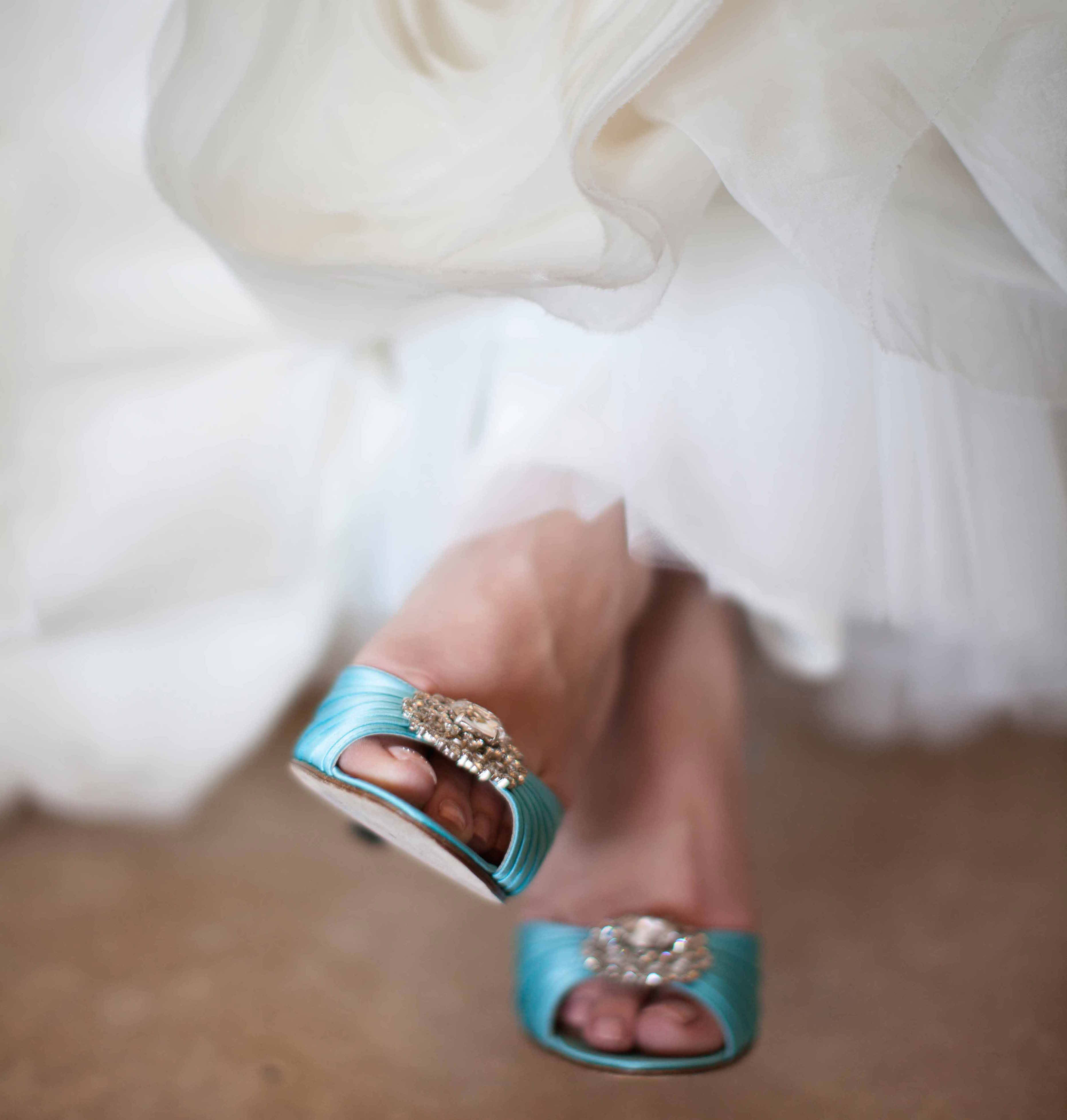 Light blue peep toe wedding shoes