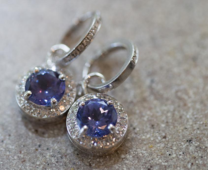 light blue purple wedding day earrings