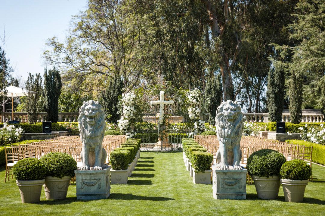 Green Greystone Mansion wedding ceremony