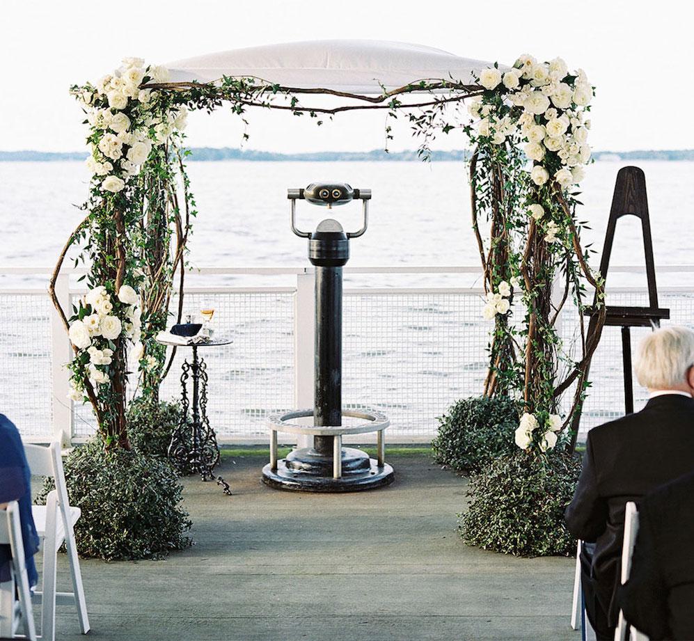 Wedding ceremony on pier