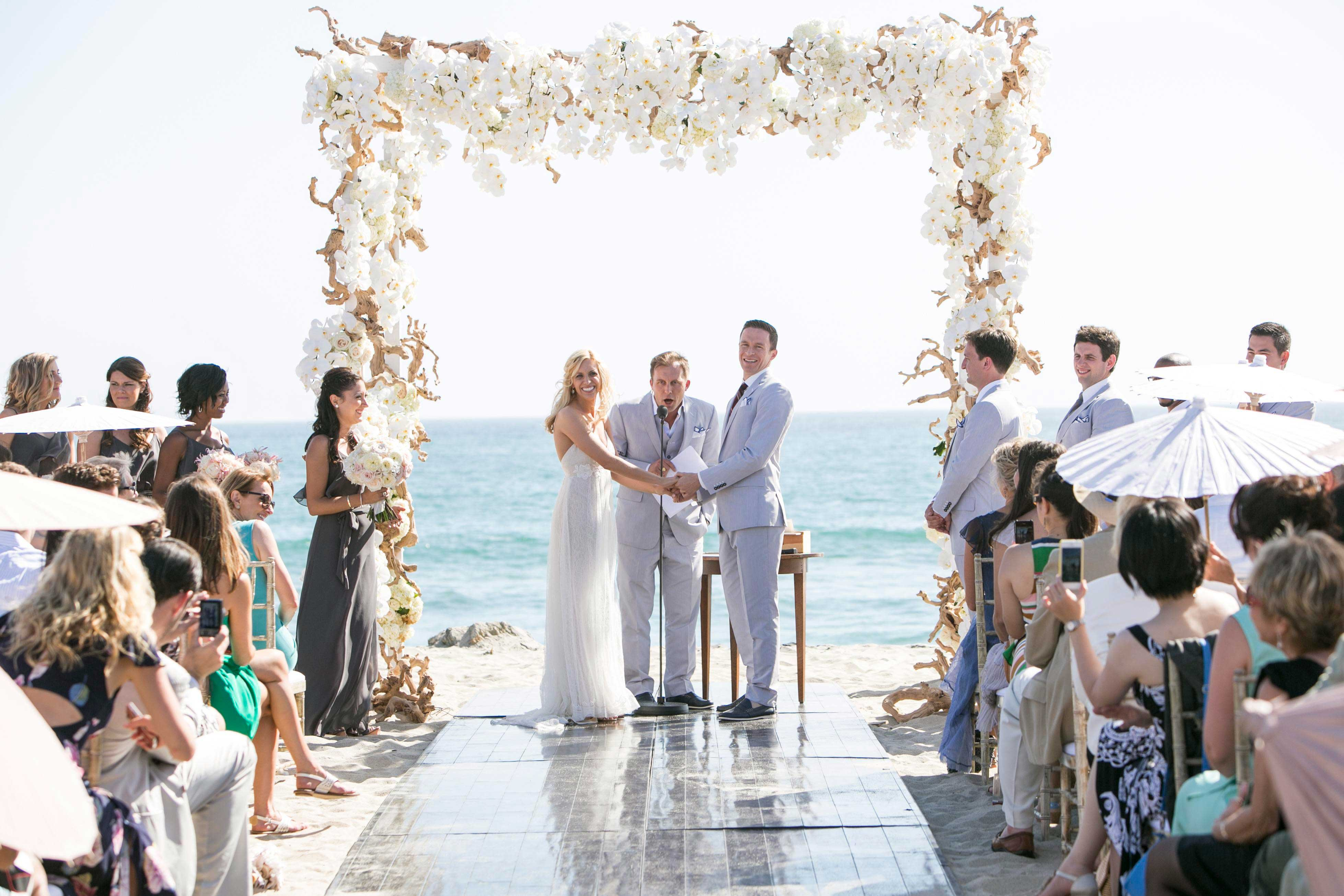 Bride and groom at beach wedding