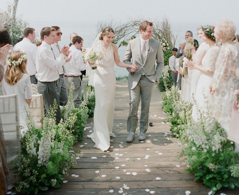 Bride and groom at Malibu wedding ceremony