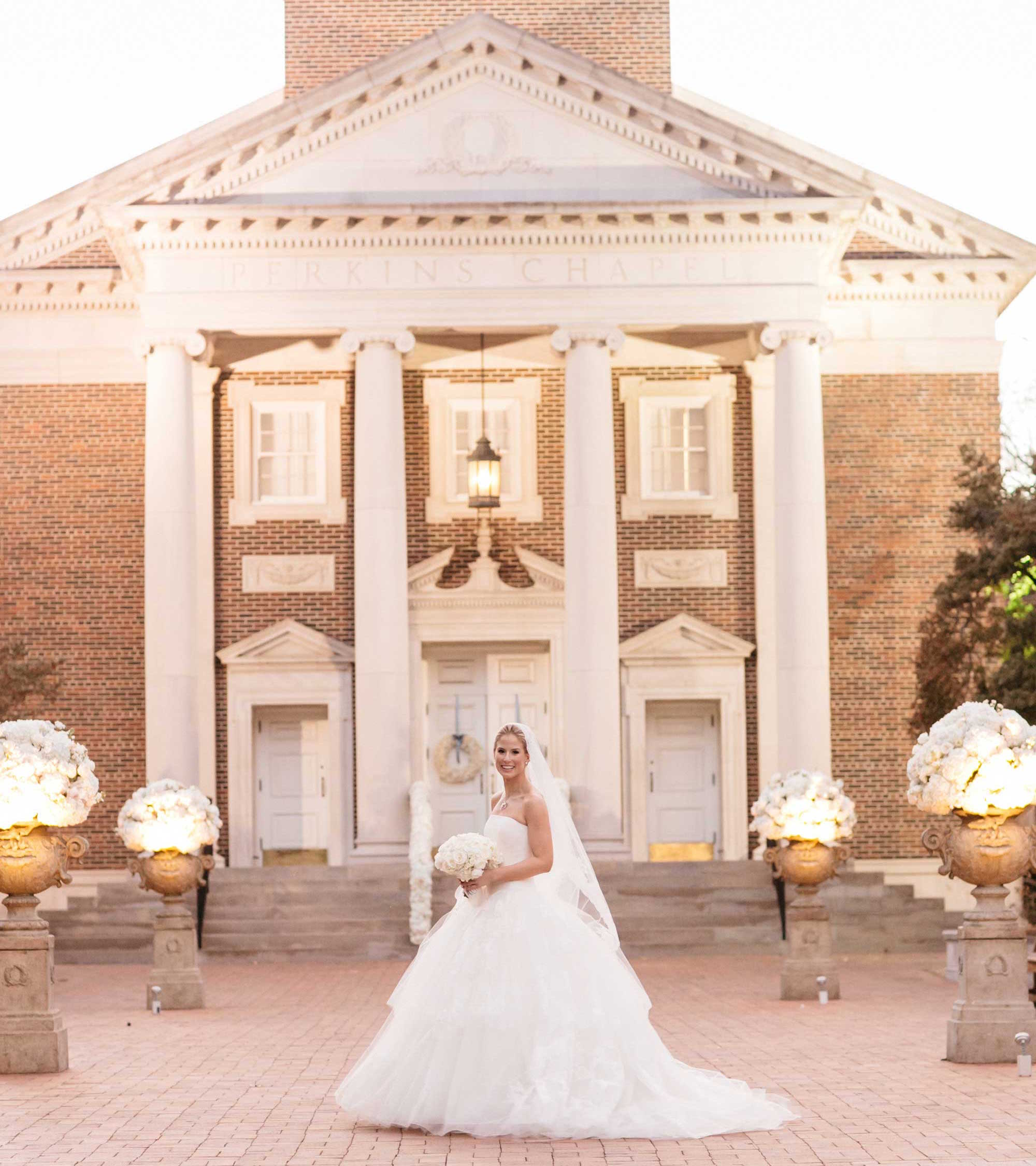 Bride in front of Perkins Chapel church