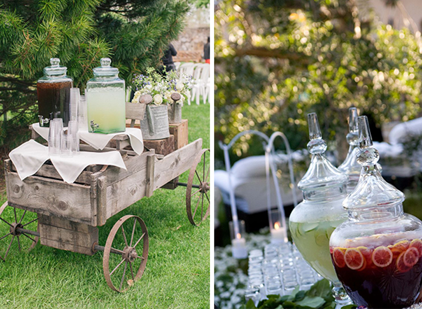 Iced tea drink station on wagon and glass dispenser
