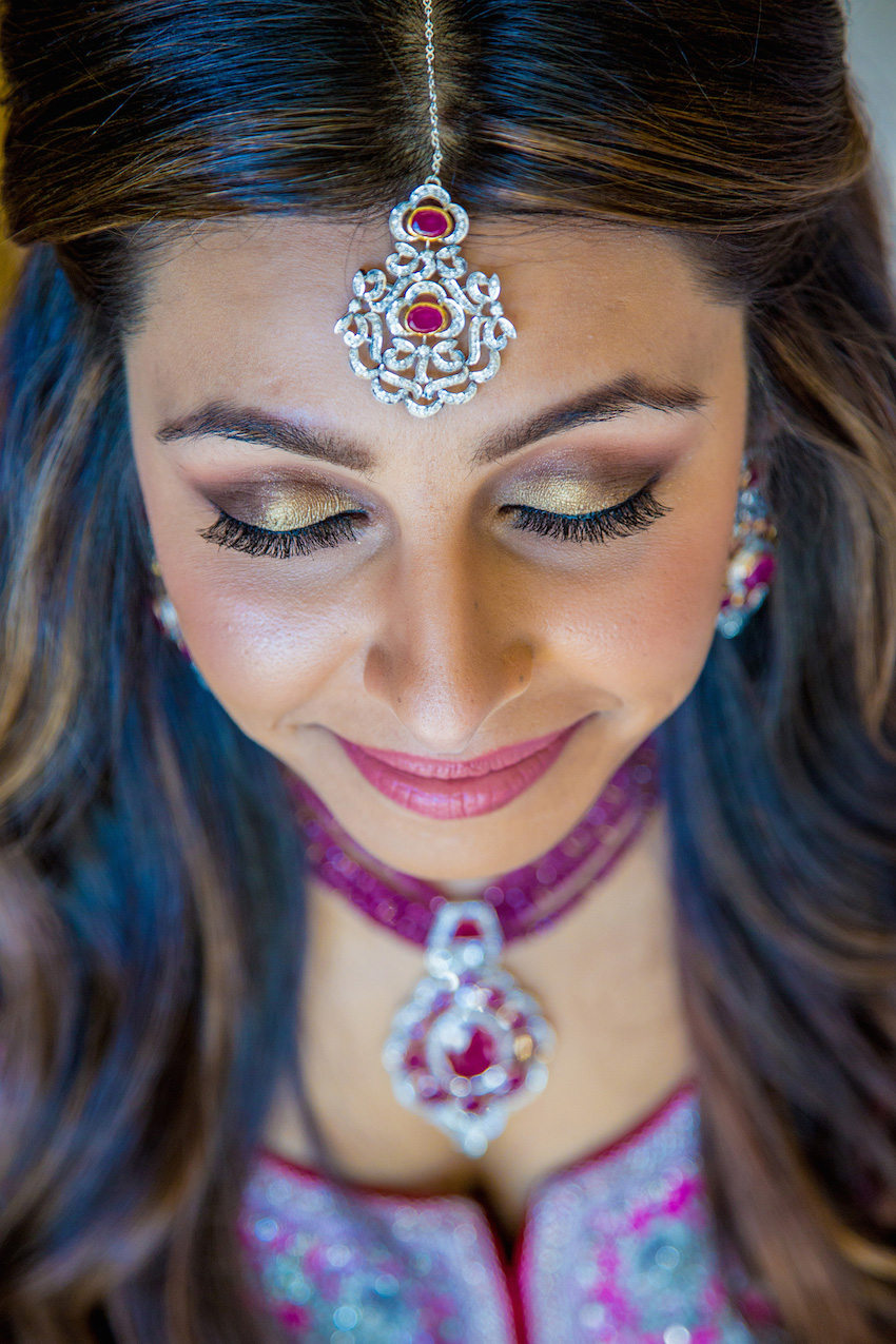 Indian bride with gold wedding makeup