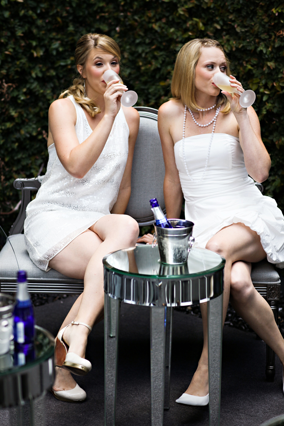 Women sipping champagne at bridal shower