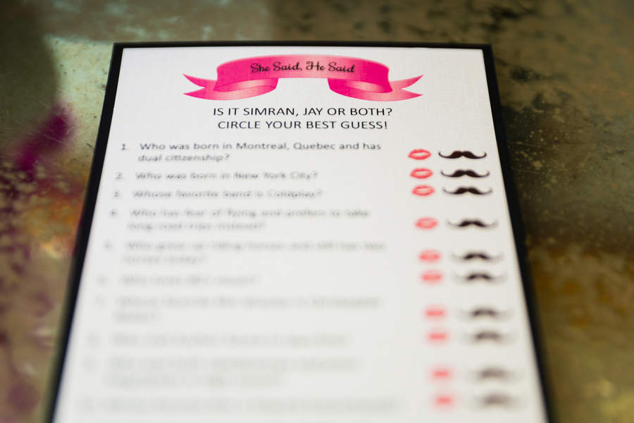 Bridal shower trivia game card