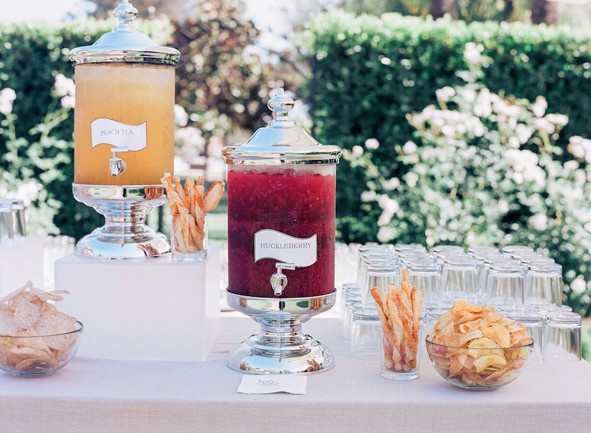 Chrome drink station at wedding