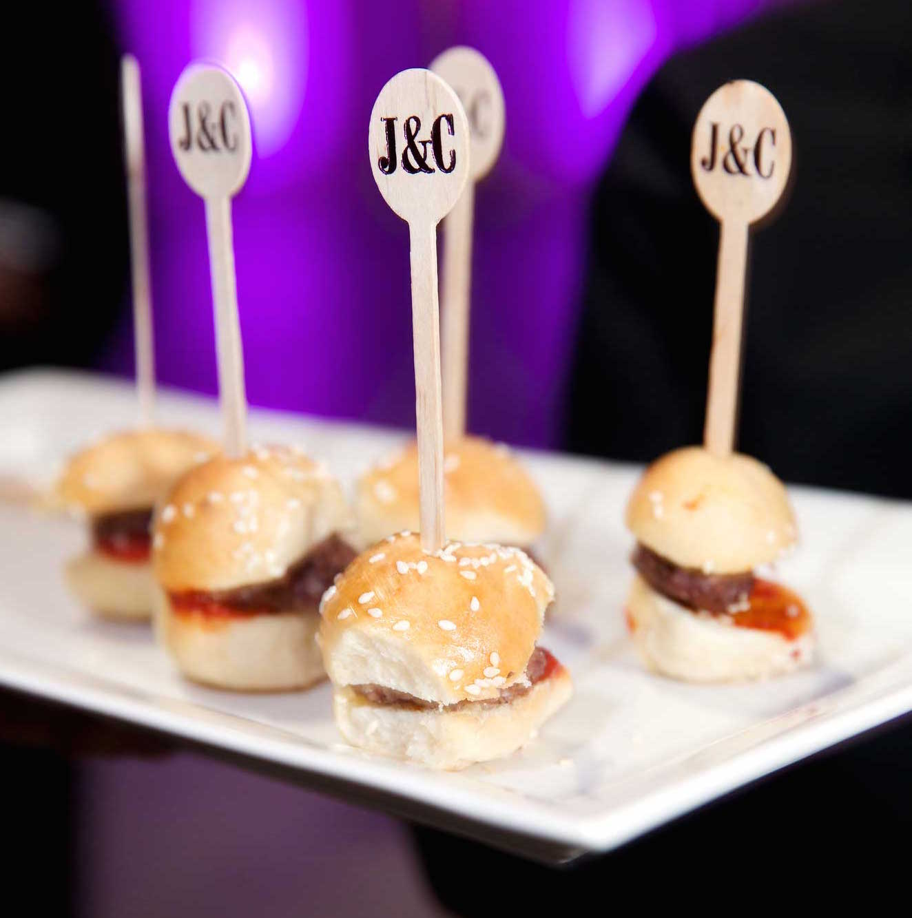 Mini burger sliders with personalized wood picks