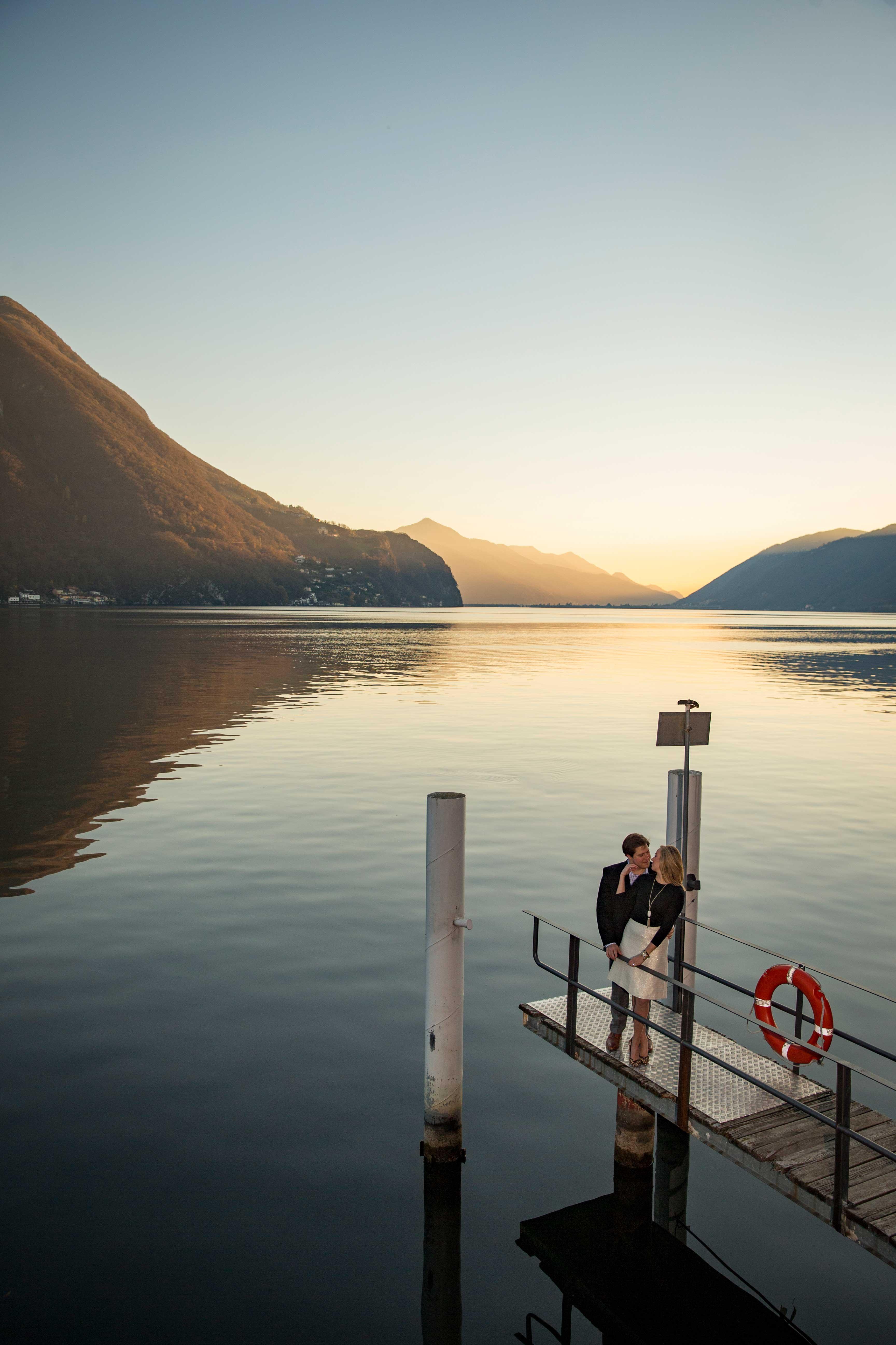 Lugano, Switzerland aerial engagement shoot photo on dock