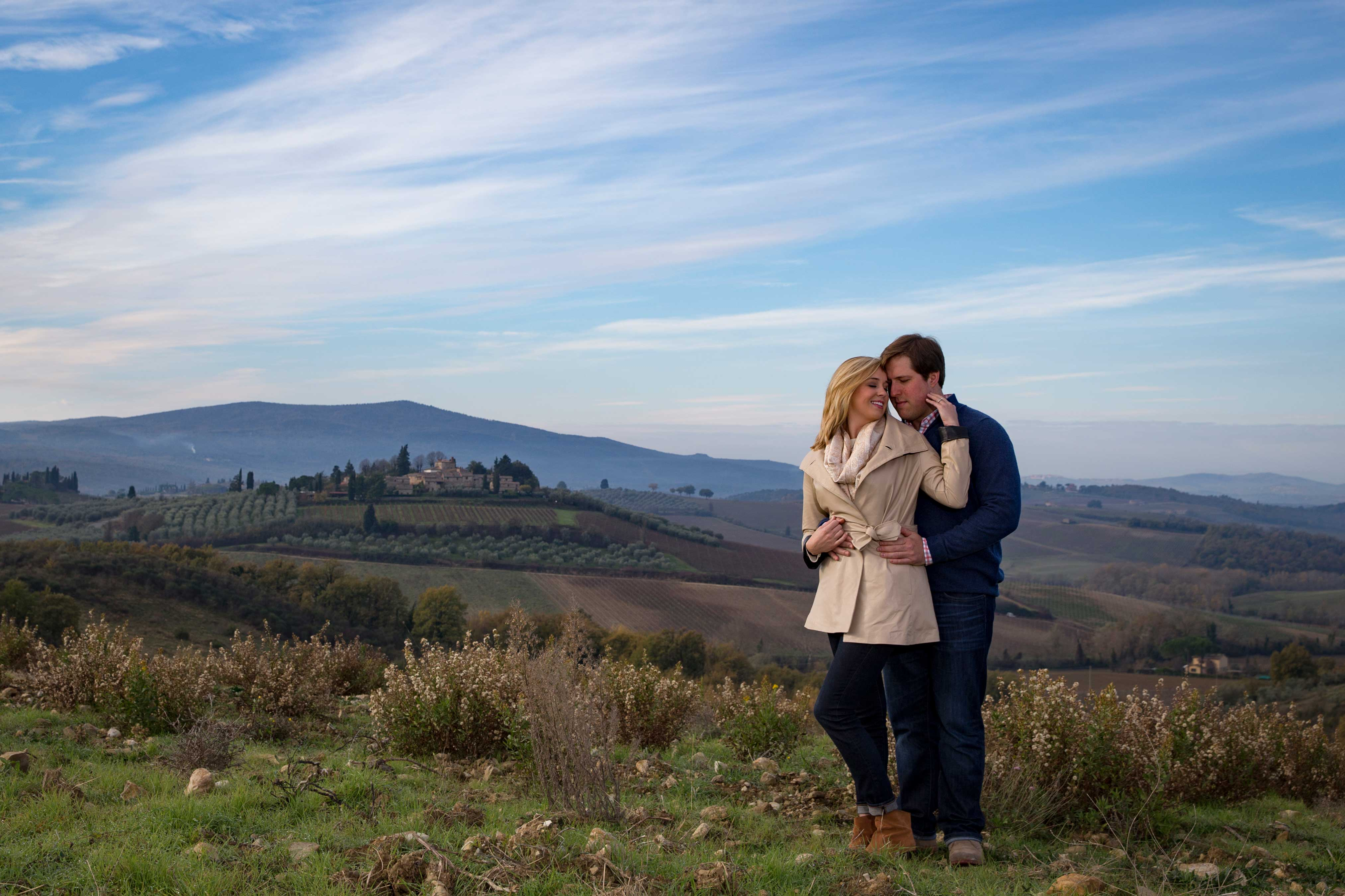 Bride and groom engagement photo session in Europe