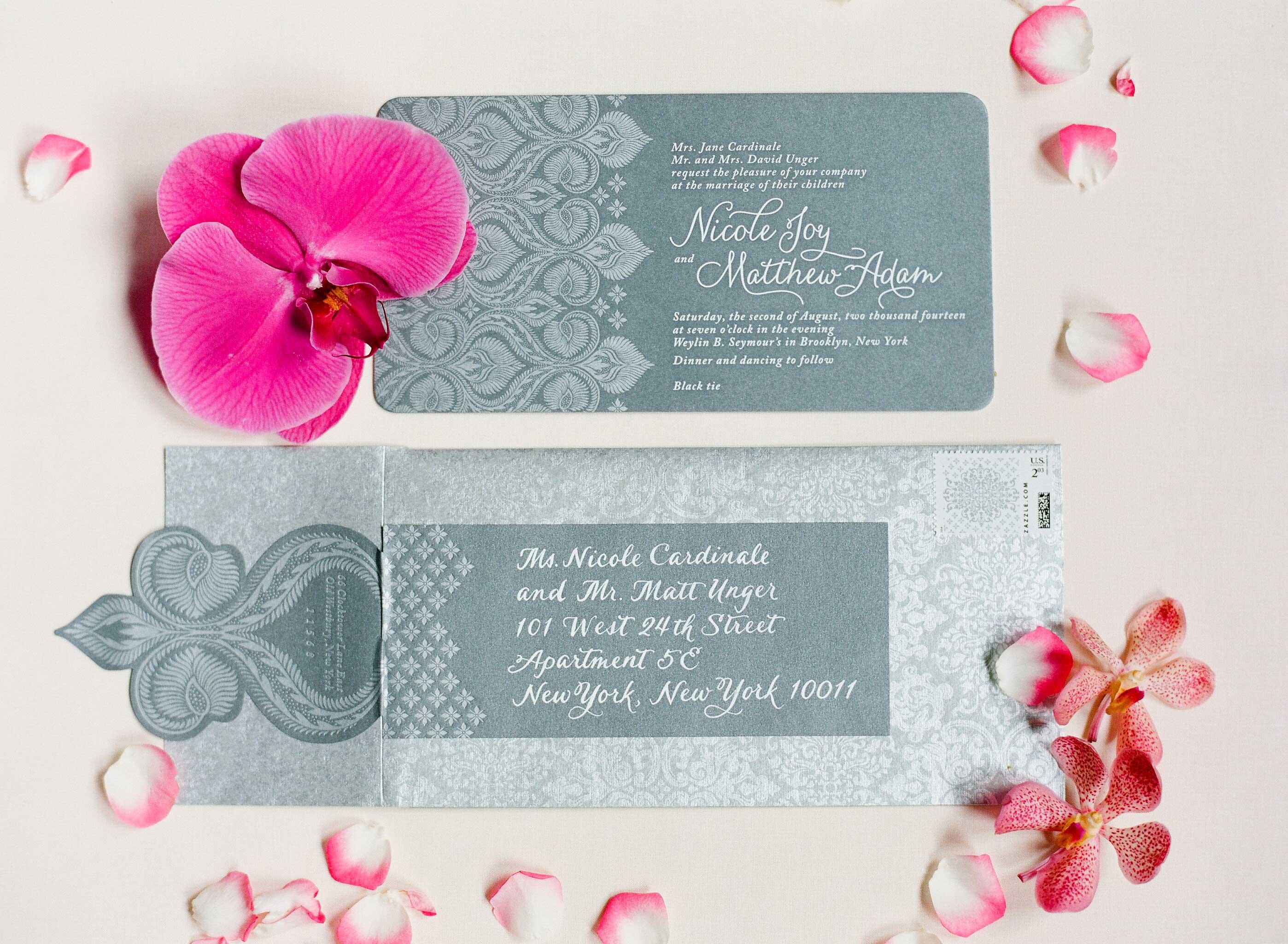 Grey and silver wedding invitation