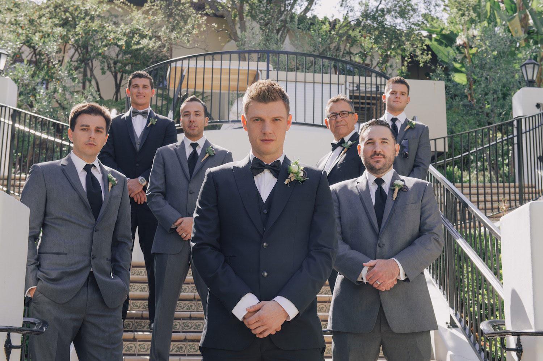 Nick Carter's groomsmen in grey suits