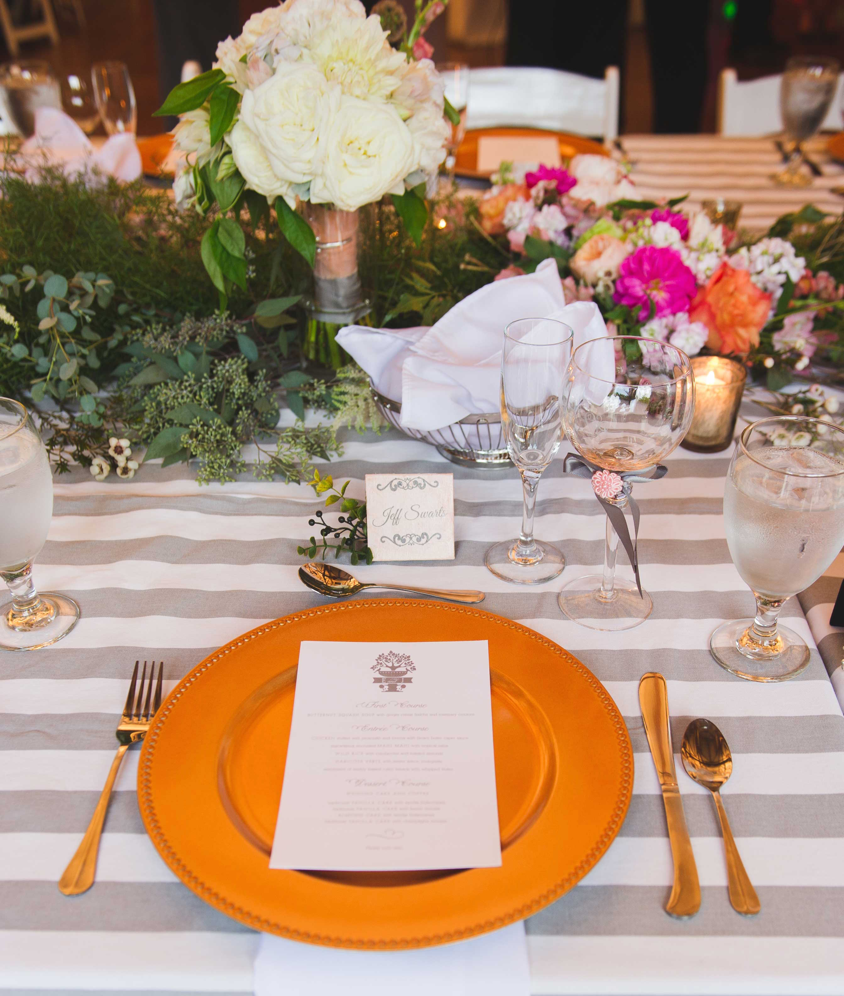 Grey and white striped reception linen