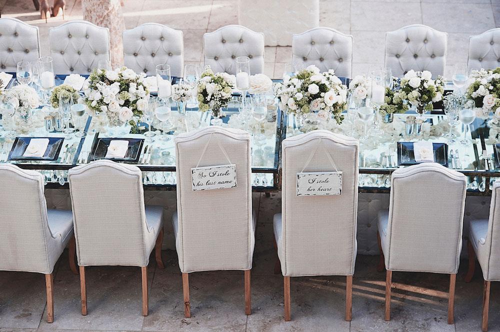 Grey tufted wedding reception chairs