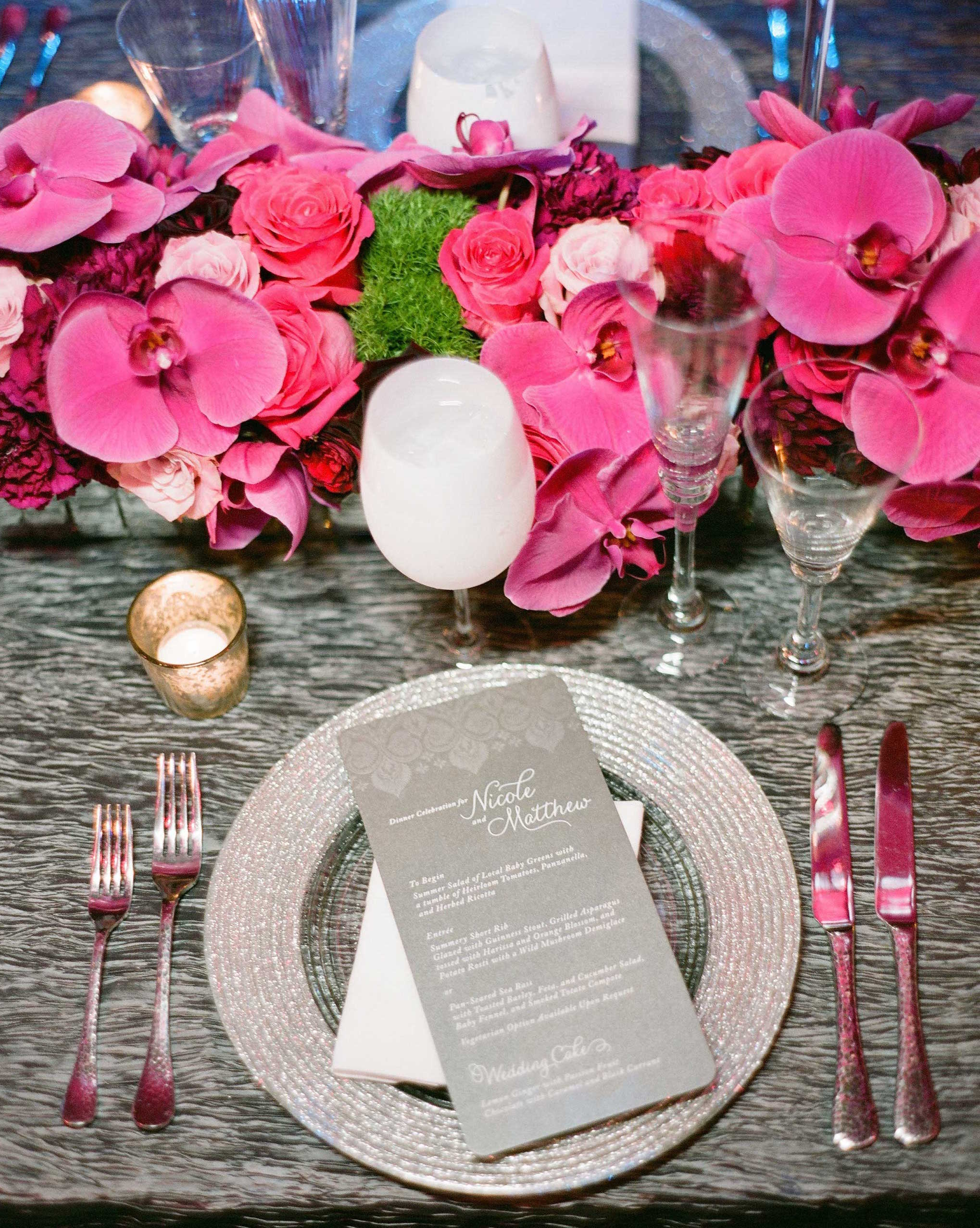 Grey textured wedding linen with silver charger