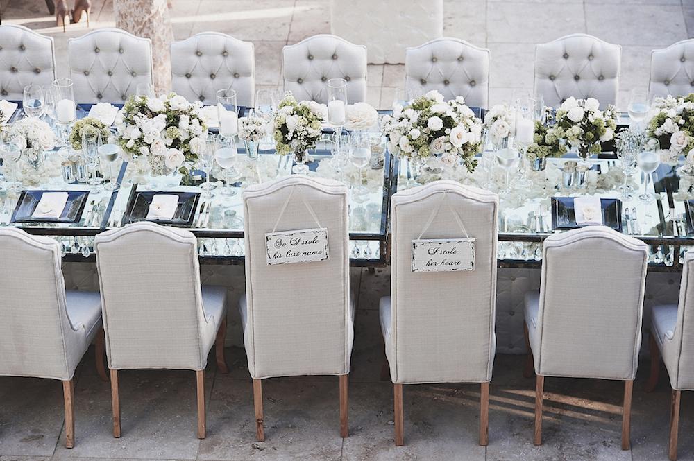 Brittney Palmer wedding reception tufted chairs