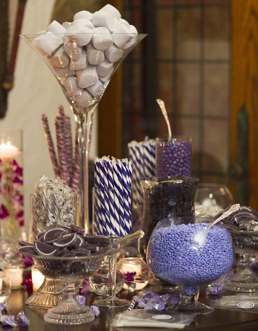 An assortment of candy in lieu of a wedding cake