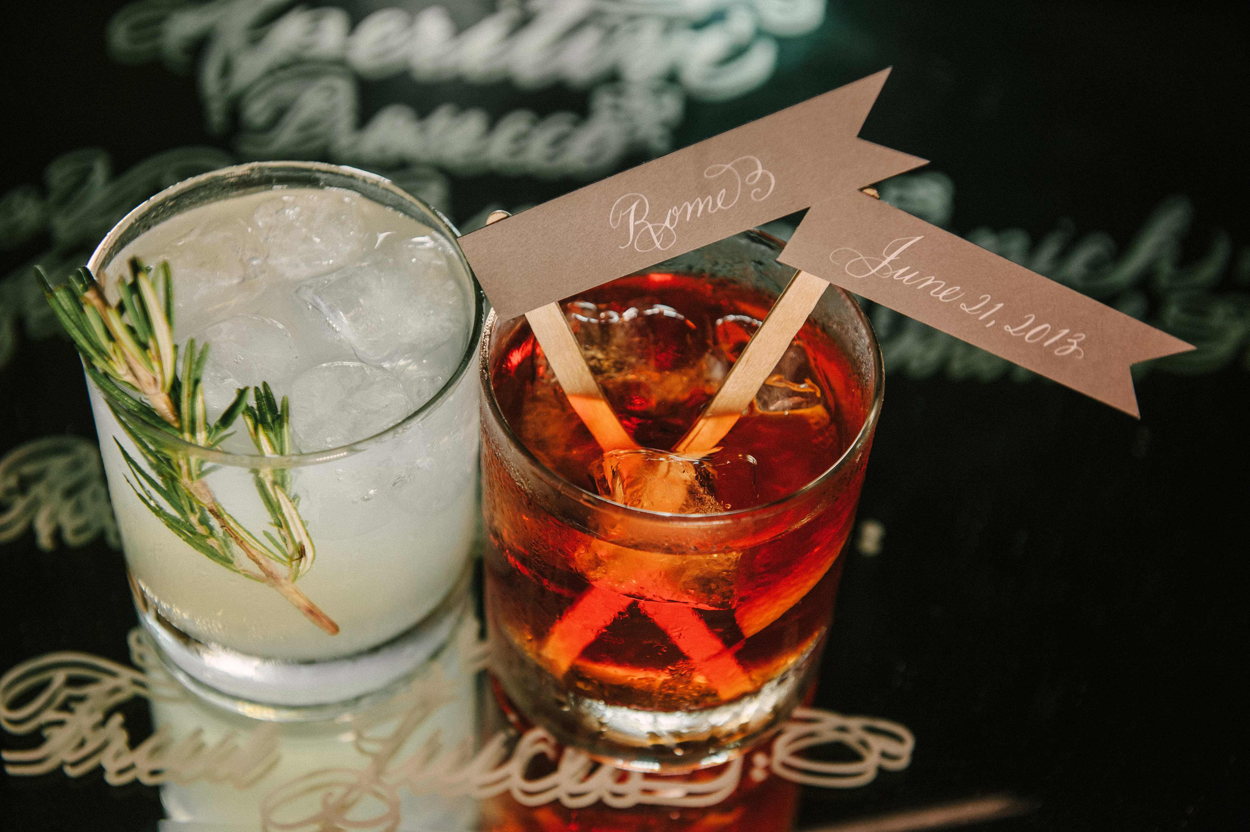 Personalized flags in wedding cocktails