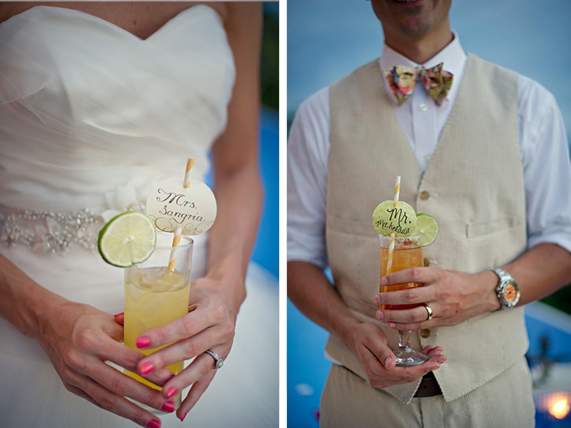 Custom straw signs for wedding cocktails