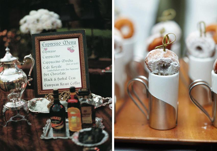 Espresso bar and coffee and donut winter wedding ideas
