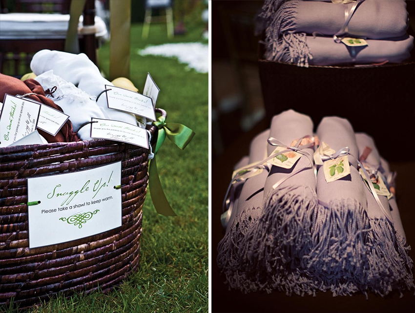 Pashminas in wicker baskets at wedding reception