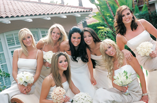 long-white-bridesmaids-dresses-and-mismatched-bouquets