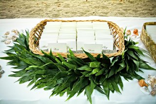 green-garland-around-basket-of-seating-cards