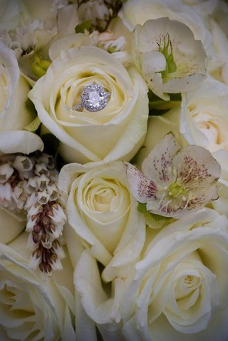 diamond-halo-wedding-ring-on-bed-of-white-roses