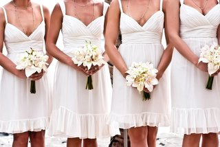 short-off-white-bridesmaid-dresses