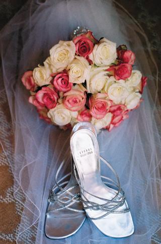 stuart-weitzman-silver-wedding-heels-and-bouquet
