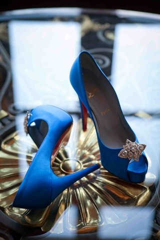 brides-royal-blue-louboutin-peep-toe-heels-with-rhinestone-accents