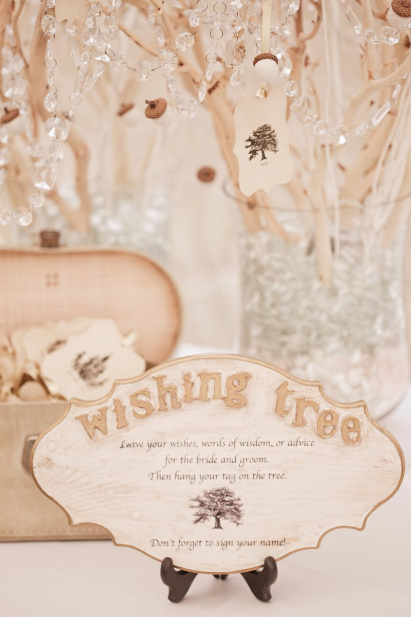 wedding guest book alternative wishing tree crystal and wood pieces