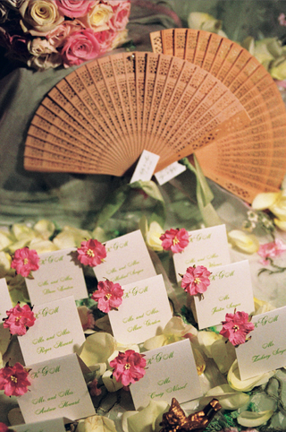 white-place-cards-with-green-lettering-and-pink-flowers