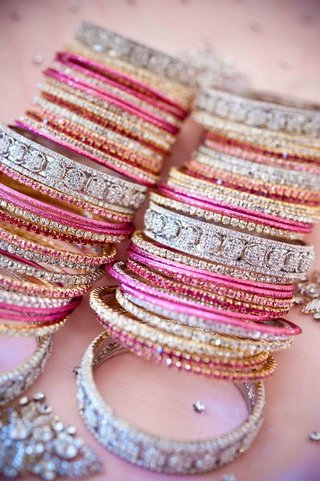 pink-silver-and-gold-crystal-studded-bracelets