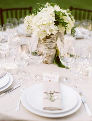 outdoor-wedding-reception-centerpiece-with-white-hydrangeas-and-greenery