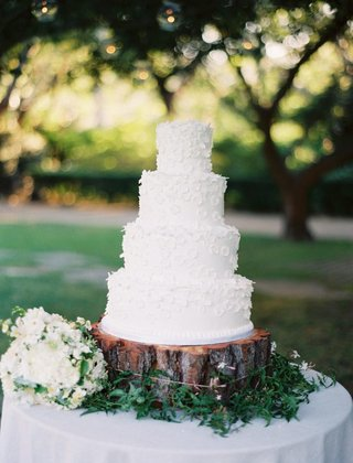 white-wedding-cake-with-white-sugar-flowers-on-tree-trunk