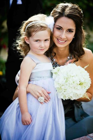 purple-flower-girl-dress-and-white-hydrangea-bouquet