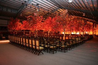 wedding-ceremony-seating-decorated-with-handmade-trees-in-fall-colors