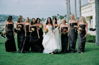 bride-with-nine-bridesmaids-on-grassy-lawn
