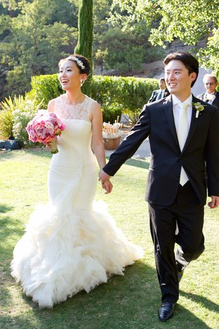 asian-american-bride-in-mermaid-wedding-dress-with-no-sleeves-and-high-lace-neckline