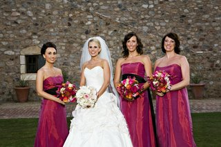 dark-pink-strapless-bridesmaid-dresses-with-black-sash