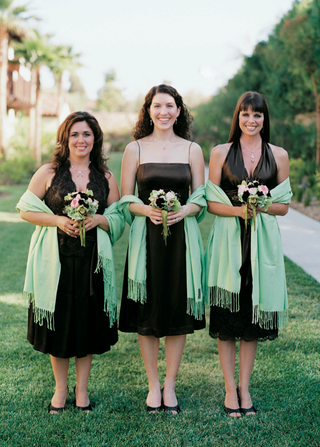 three-bridesmaids-in-mismatched-brown-dresses